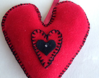 Large Red and Black Felt Heart
