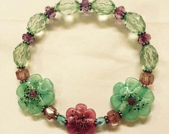 Floral Glass Beaded Bracelet
