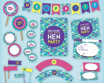 1990s Printable Hen Party Pack: Invitations, Stickers, Bunting, Cupcake wrappers - 90s memphis design, instant download, Hen Night partyware