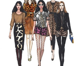Runway Fashion Illustration Print, Animal Print Series, Wall Art Decor,8.5X11