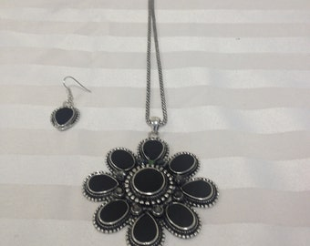 Black Pendant with silver style chain