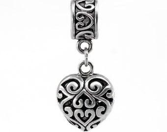 Filigree Dangle Heart Charm Antique Silver With Bail Bead Fits European Charm Bracelets