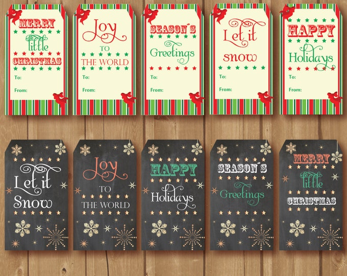 Christmas gift tags, Christmas party tags, Holiday tags, Christmas Party. Chalkboard Christmas tags PRINTABLE, Holiday gift tag