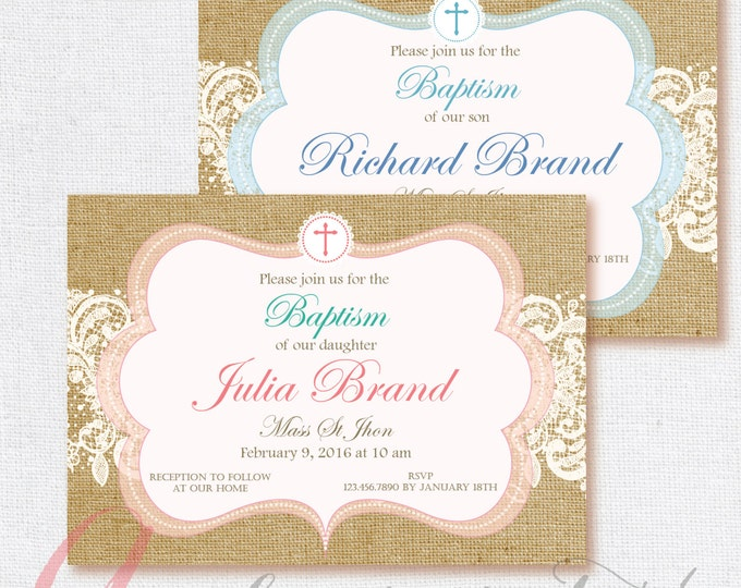 Baptism invitation. Burlap invite. Burlap and lace invitation. Printable Baptismal invitation. Christening. Shabby Chic Baptism invitation