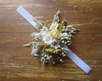 Wrist corsage, Made using beautiful dried flowers.  Everlasting gift, accessory, prom, wedding,  Mother of the Bride, Bridesmaid, Bracelet