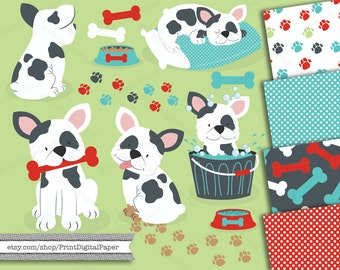 Puppy Dog French Bulldog Boston terrier clip art Instant Download Clipart frenchie bath bone pawprints food bowl water papers puppy pattern