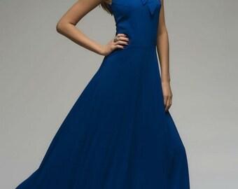 Blue Maxi Dress,Evening Chiffon  Dress Summer.