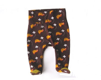 Baby pants with footies, organic cotton baby pants, newborn pants, brown yellow baby footies