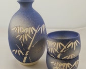 Japanese Sake Set Blue Pottery Bamboo Motif Asian Decor