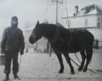 2 day sale Vintage Man and Horse Photo, Collectible Vintage,Castawayacres