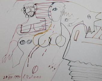 Abstract surrealism figural wc drawing signed