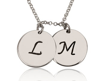 Personalized Silver Circle Initial Necklace , Custom Initials Silver Charm Pendant , Disc Letter Necklace , Personalised Mom Necklace