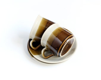 Retro coffee cup, set of two, cup and saucers