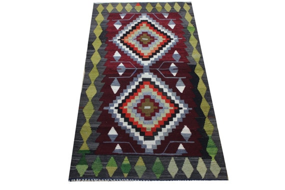 3 x 5 3 ft 91x162 cm vintage turkish kilim by for 162 cm to feet