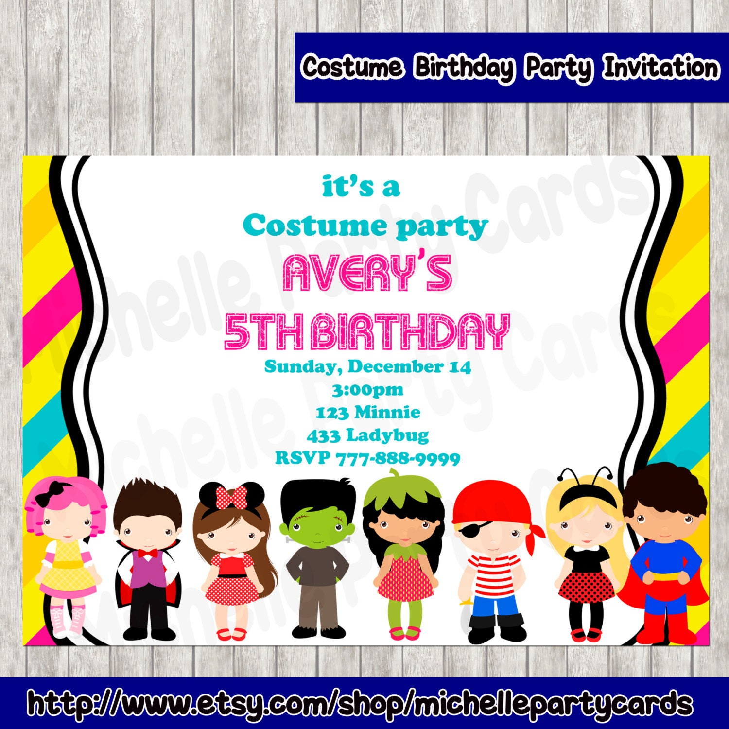 Costume Birthday Party Invitation by michellepartycards on ...