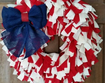 Beautiful, Red and White and Blue, Patriotic, Fourth of July, Everyday, Rag Wreath