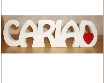 CARIAD welsh saying/ meaning wooden name plaque/ sign
