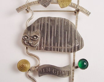 Cat PIn (Un Chat) Smug Cat on Arbor with Hearts Carnelian, Green Onxy, and Amethyst Large Pin