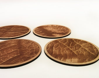 Leaf texture coasters - Laser cut leaf coasters - set of 4