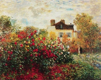 high quality handpainted oil painting reproduction claude monet's  Garden at Argenteuil  for home decoration wall art