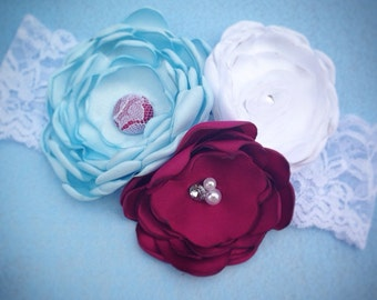 The Winter Blues Lace Headband or Clip