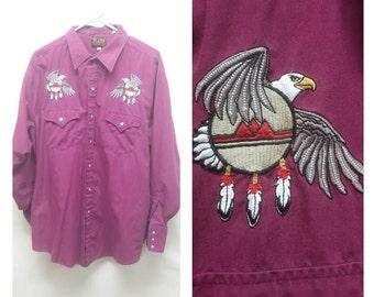 Men's Embroidered Western Shirt XL