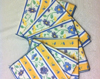 6 NEW French Buttercup Yellow Blue Floral & Stripes Daisy Napkins