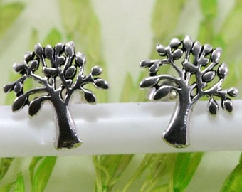 tree of life, earstuds, 1 pair, silver