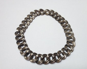 Chunky Silver Plate Linked Necklace