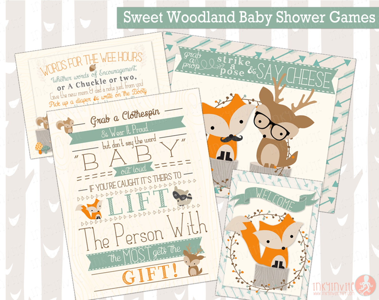 sweet woodland baby shower games forest friends by inkyinvite
