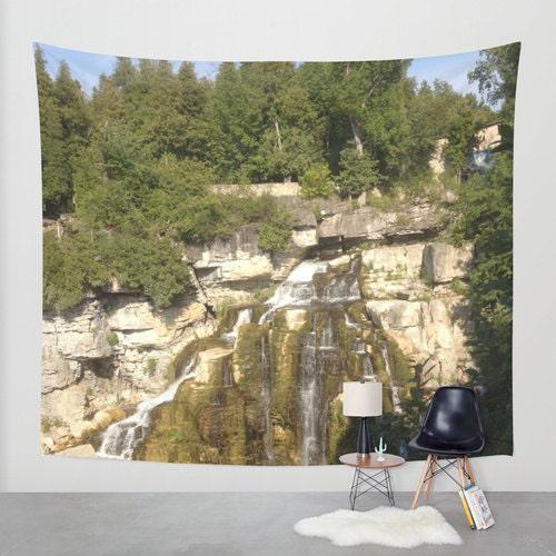 Wasserfall wand gobelin indoor outdoor fotografie natur wald - Wasserfall wand ...
