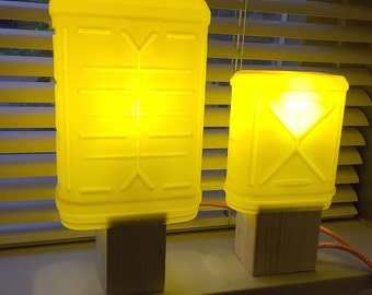 upcycle lampshade ChocoBeacon out of a plastic Nesquik container [Large]