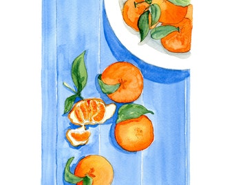 Clementines Watercolor Print - Archival Print