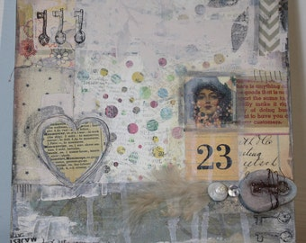OOAK Mixed Media Canvas 23 Keys