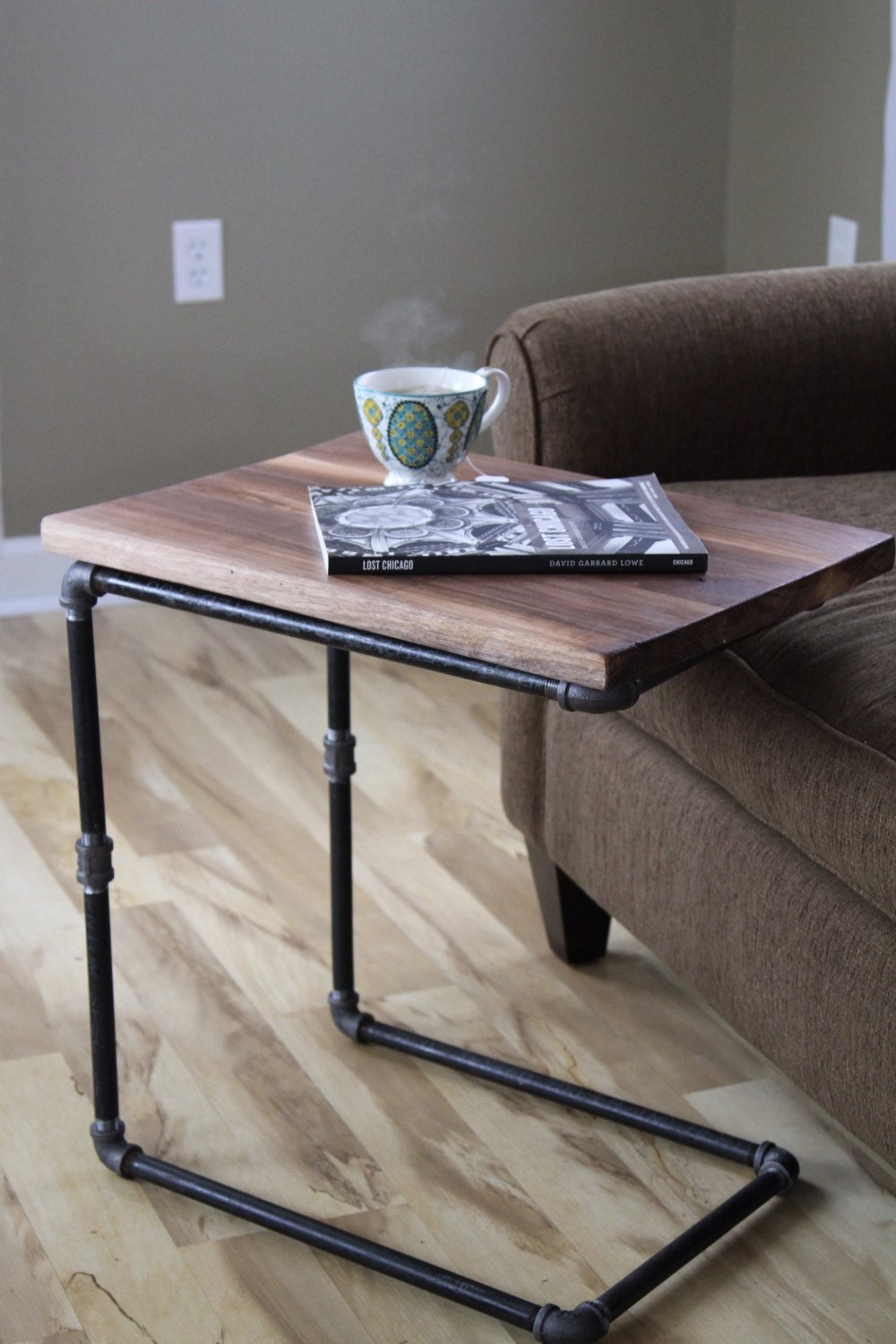 Walnut You Join Me Reclaimed Wood Side Table Laptop Desk
