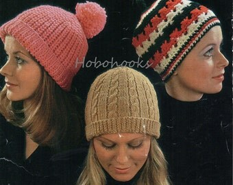 Vintage Womens Knitting Pattern womens Crochet Pattern knitted hats crochet hats womens hats ladies hats DK & Chunky PDF instant download