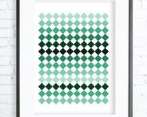 Green Checkered Print ,Green Checkered Pattern,Green Checkered printable art, Print Art, Checkered Decor, Green Art Print, office artwork