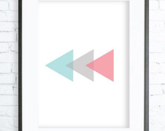 turquoise pink and grey triangles modern art prints home decor bedroom art - Wall Decor In Bedroom