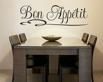 Bon Appetit French vinyl wall decal home kitchen decoration Sticker