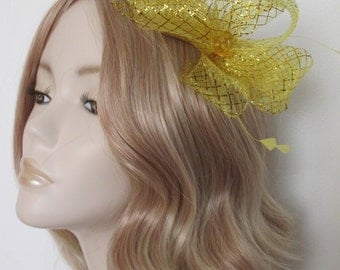 GOLD METALLIC FASCINATOR,  Crin loops, Clear lozenge rhinestone, Feathers, on clip