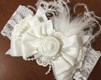 Silk Bow Ivory Headband
