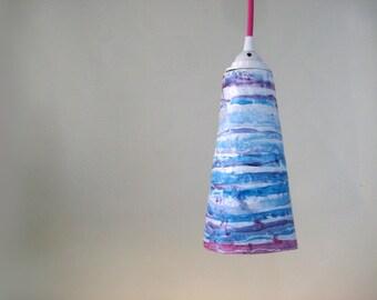 Eco Friendly Paper Mache Pendant Light CONE Fuchsia Barber Pole (III) | Hanging Light | Recycle Handmade Lamp Shade | Energy Saving LED Bulb