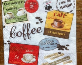 Paper napkin for mixed media, collage, scrapbook, decoupage x 1 Vintage Coffee