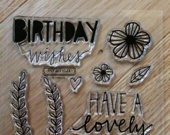 Birthday Wishes Stamp Set - Ships Free