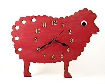Lamb Wooden Wall Clock – Lamb Clock – Wall Clock Nursery – Kid's Room - Personalized – Farm Animal