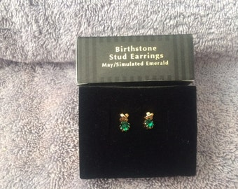 Vintage Avon Birthstone Stud Earrings May Simulated Emerald New in Box