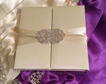 Ivory Silk Invitation Box / Gatefold Invitation / Boxed Wedding Invitation / Invitation Box / Elegant, Couture Gatefold