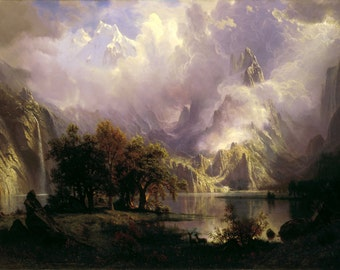 Rocky Mountain Landscape by Albert Bierstadt Home Decor Wall Decor Giclee Art Print Poster A4 A3 A2 Large Print FLAT RATE SHIPPING