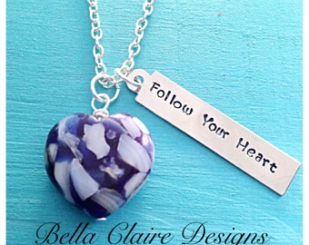 Follow Your Heart Glass bead necklace, glass heart necklace, crystal heart necklace, hand stamped glass necklace, hand stamped heart necklac