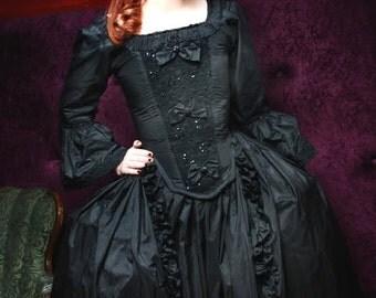 Rococo 18th Century Gown in Silk Taffeta Custom Sized Steel Boned Silken Dream Gown